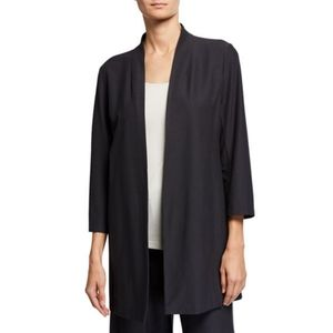 Eileen Fisher Black Viscose Stretch Crepe Jacket